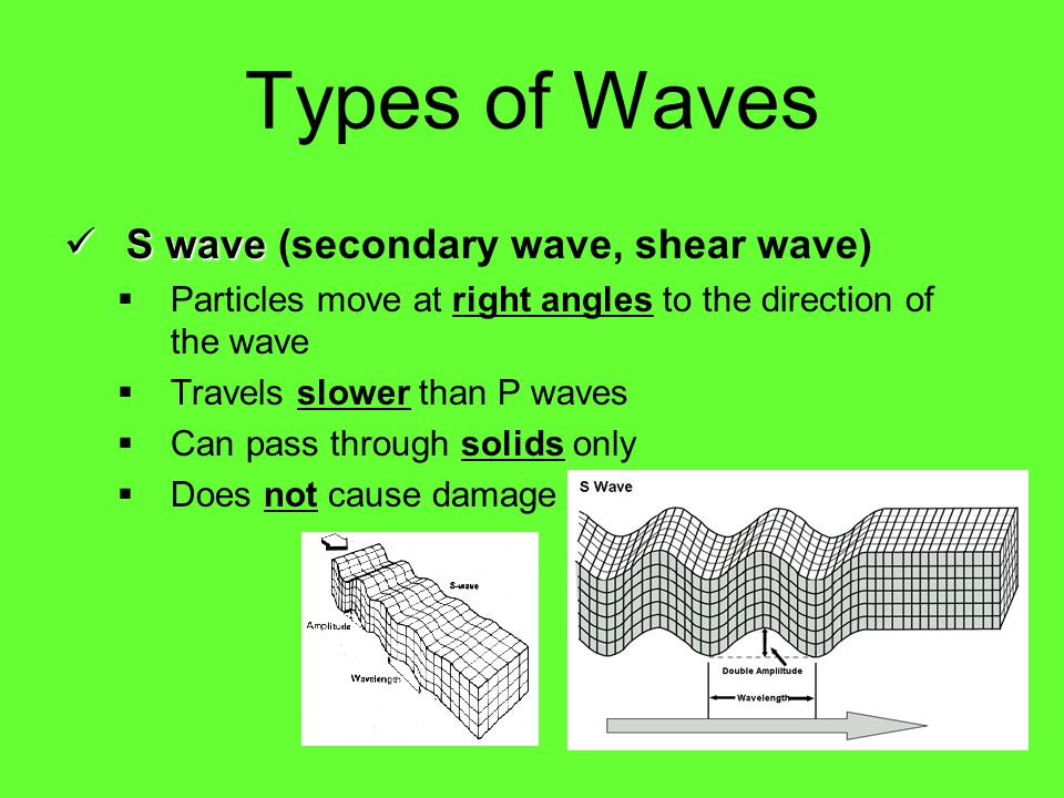 P waves P waves (primary waves) Compressional wave  Particles move back and forth in the same direction as the wave  Travels the fastest  Can pass