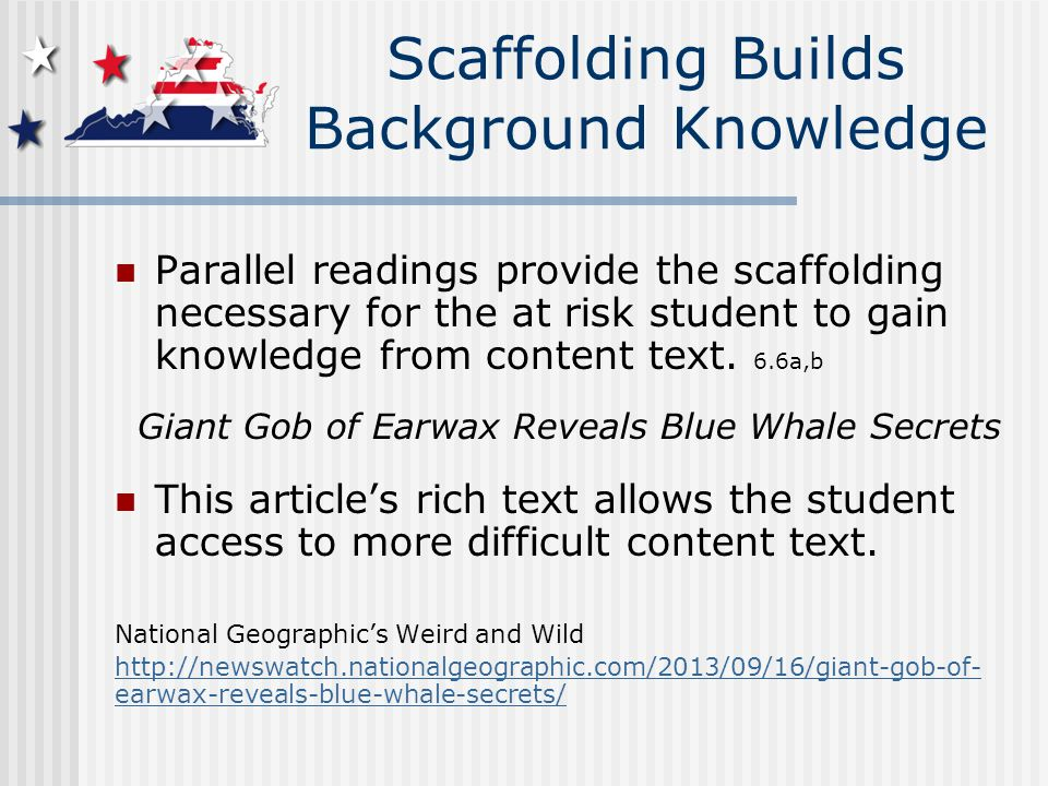 Parallel readings provide the scaffolding necessary for the at risk student to gain knowledge from content text.