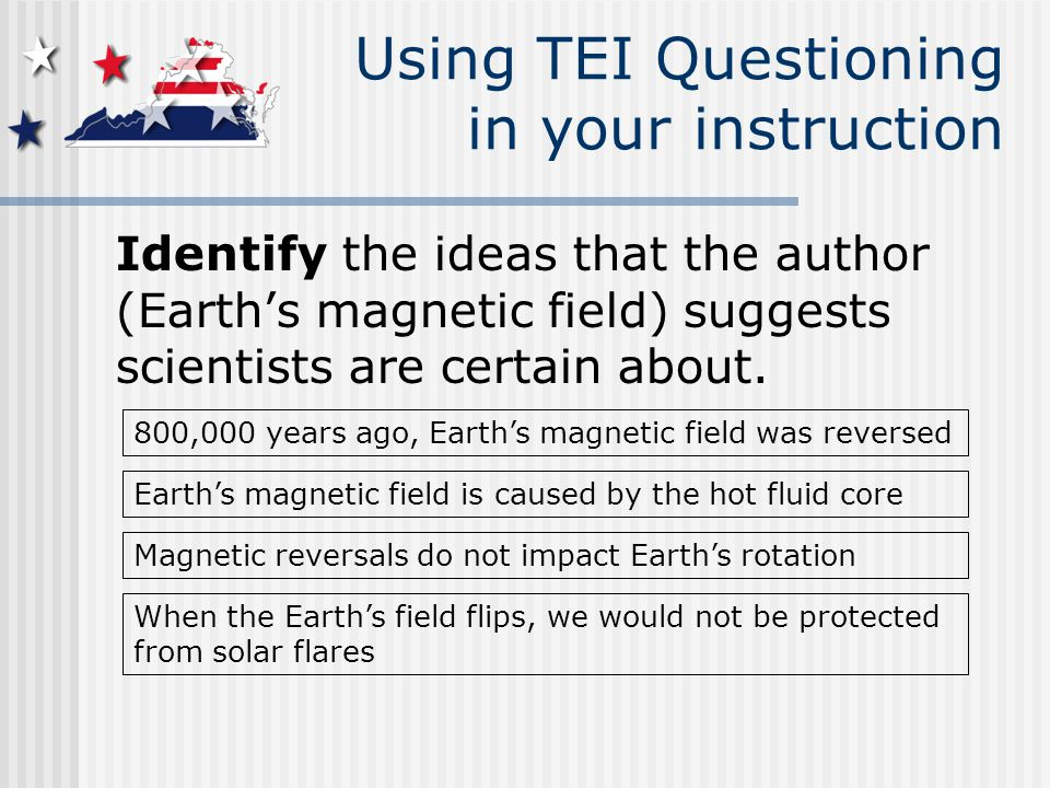 Using TEI Questioning in your instruction Identify the ideas that the author (Earth's magnetic field) suggests scientists are certain about.