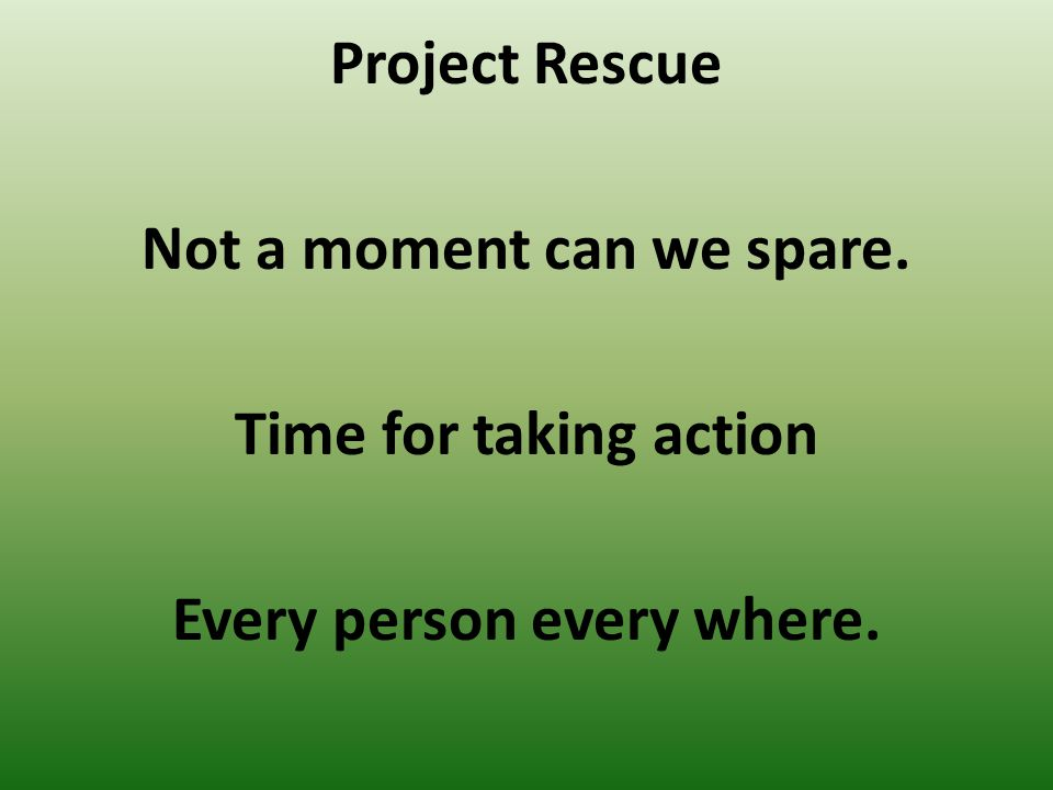 Project Rescue Not a moment can we spare. Time for taking action Every person every where.