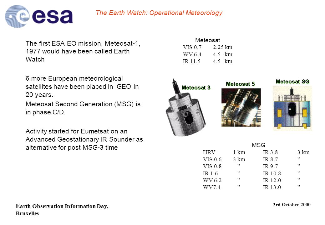E arth Observation Information Day, Bruxelles 3rd October 2000 The Earth Watch: Operational Meteorology The first ESA EO mission, Meteosat-1, 1977 would have been called Earth Watch 6 more European meteorological satellites have been placed in GEO in 20 years.