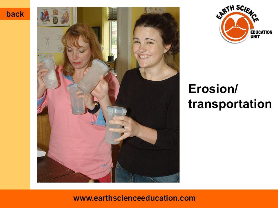 www.earthscienceeducation.com Erosion/ transportation back