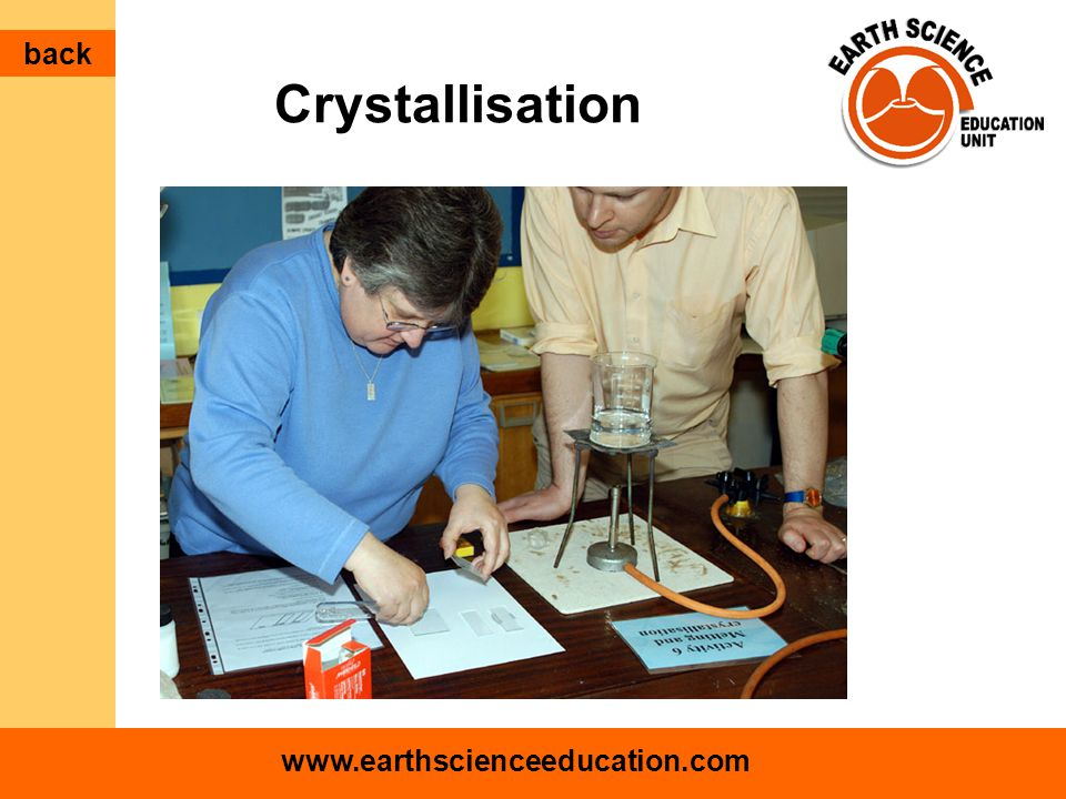 www.earthscienceeducation.com Crystallisation back