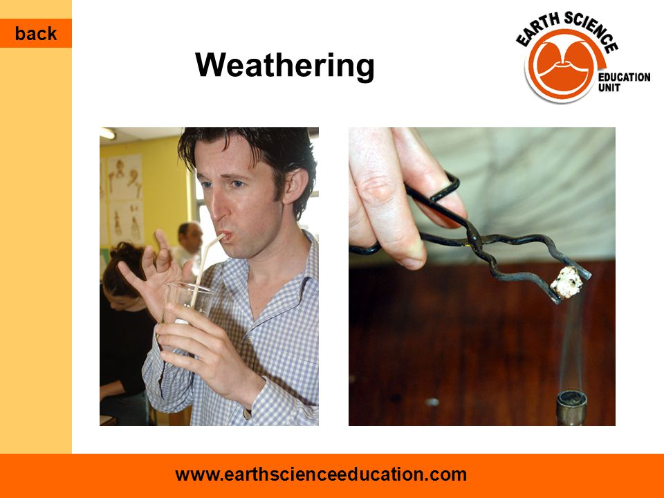 www.earthscienceeducation.com Weathering back