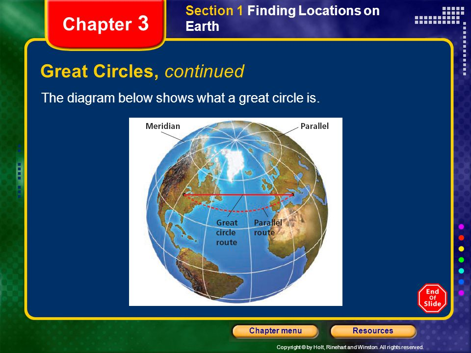 Copyright © by Holt, Rinehart and Winston. All rights reserved. ResourcesChapter menu Section 1 Finding Locations on Earth Chapter 3 Great Circles, co
