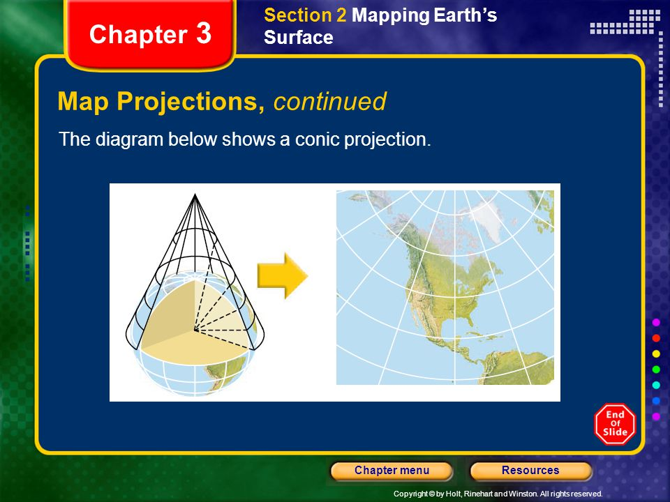 Copyright © by Holt, Rinehart and Winston. All rights reserved. ResourcesChapter menu Section 2 Mapping Earth's Surface Chapter 3 Map Projections, con