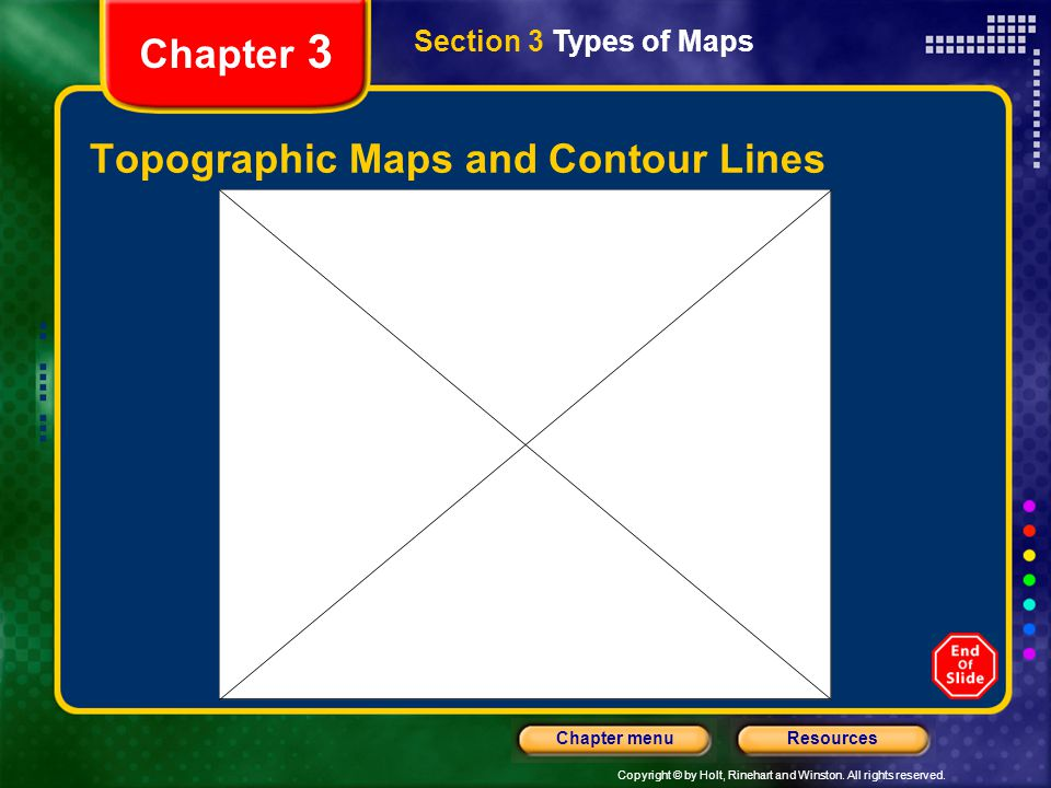 Copyright © by Holt, Rinehart and Winston. All rights reserved. ResourcesChapter menu Chapter 3 Topographic Maps and Contour Lines Section 3 Types of