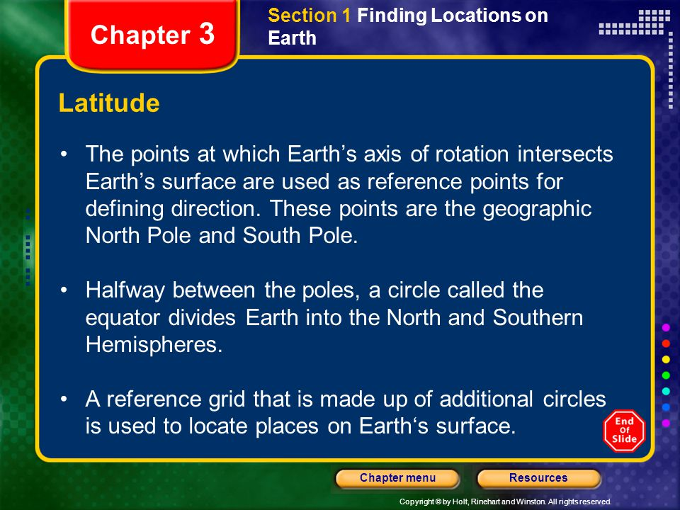 Copyright © by Holt, Rinehart and Winston. All rights reserved. ResourcesChapter menu Section 1 Finding Locations on Earth Chapter 3 Latitude The poin