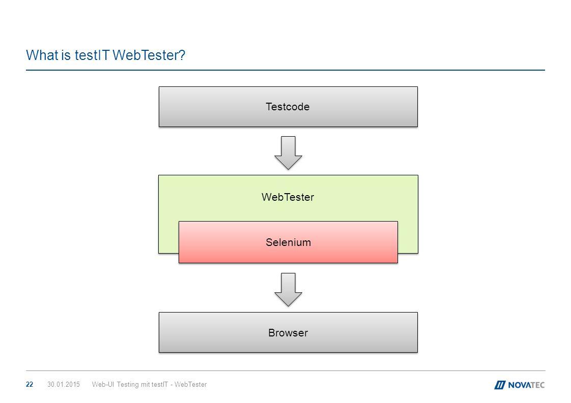 WebTester What is testIT WebTester? 30.01.2015Web-UI Testing mit testIT - WebTester22 Selenium Browser Testcode