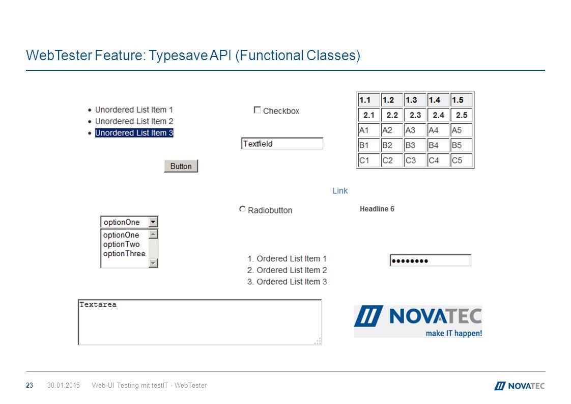 WebTester Feature: Typesave API (Functional Classes) 30.01.2015Web-UI Testing mit testIT - WebTester23