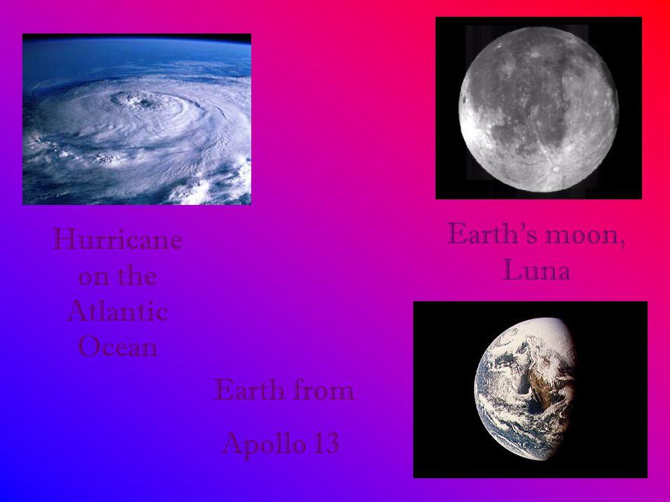 Hurricane on the Atlantic Ocean Earth's moon, Luna Earth from Apollo 13