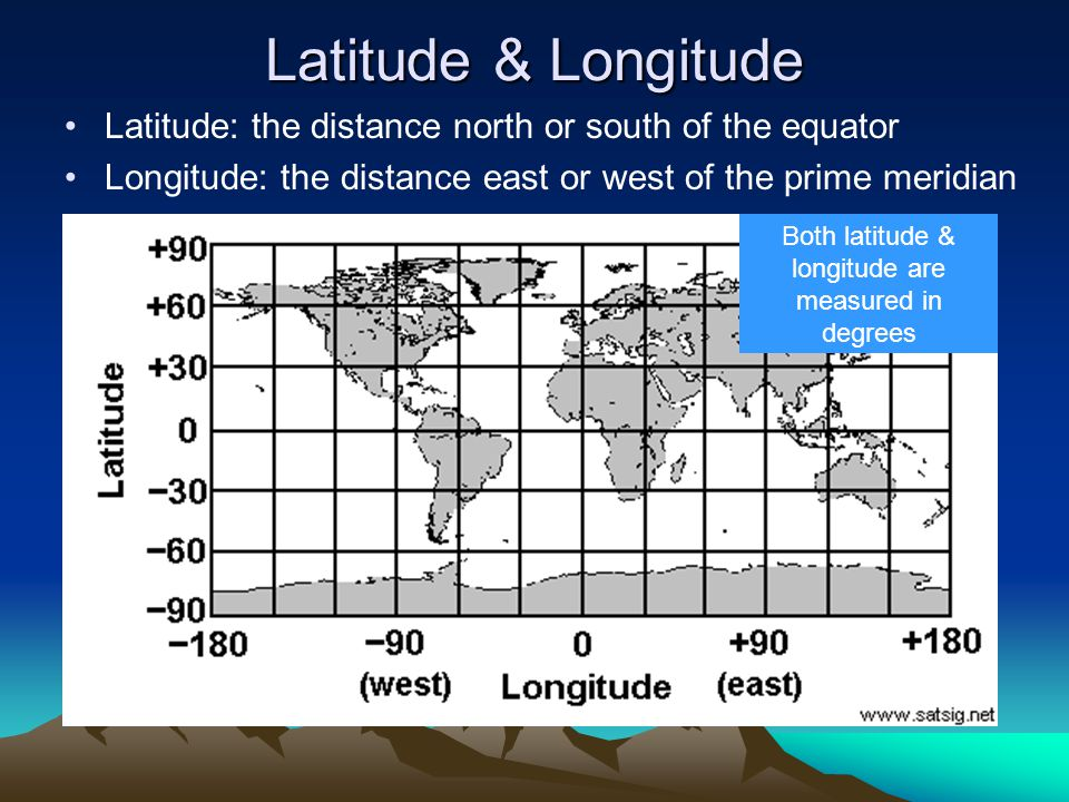 Latitude & Longitude Latitude: the distance north or south of the equator Longitude: the distance east or west of the prime meridian Both latitude & l