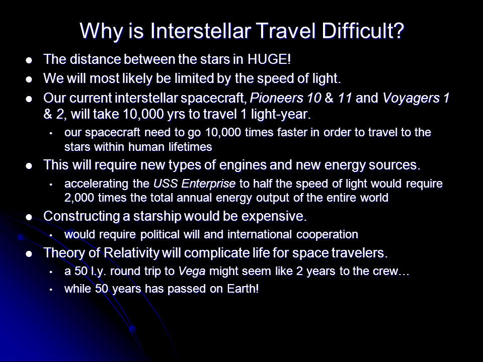 Why is Interstellar Travel Difficult. The distance between the stars in HUGE.