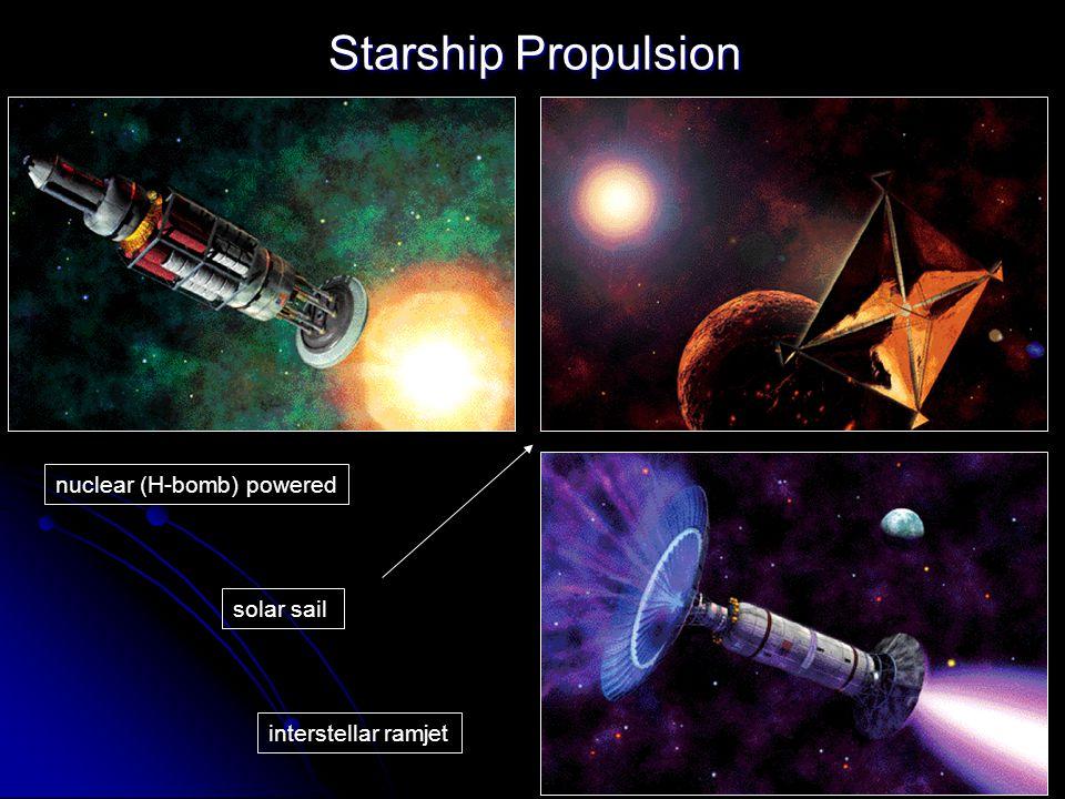 Starship Propulsion nuclear (H-bomb) powered solar sail interstellar ramjet