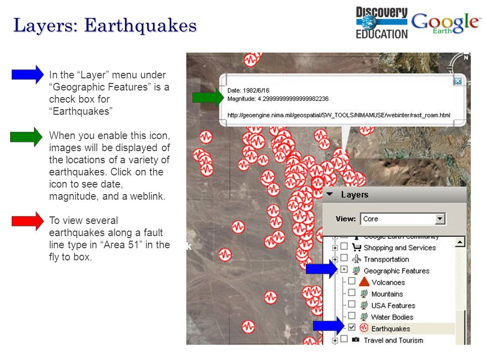 Hall Davidson, 2007 80% Network Layers: Earthquakes Other 20% In the Layer menu under Geographic Features is a check box for Earthquakes When you enable this icon, images will be displayed of the locations of a variety of earthquakes.