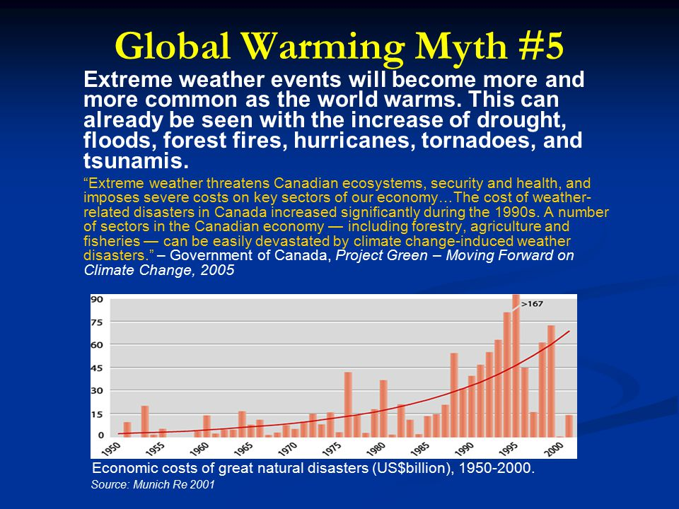 Global Warming Myth #5 Extreme weather events will become more and more common as the world warms.