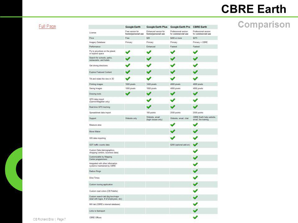 CB Richard Ellis   Page 7 CBRE Earth Comparison Full Page