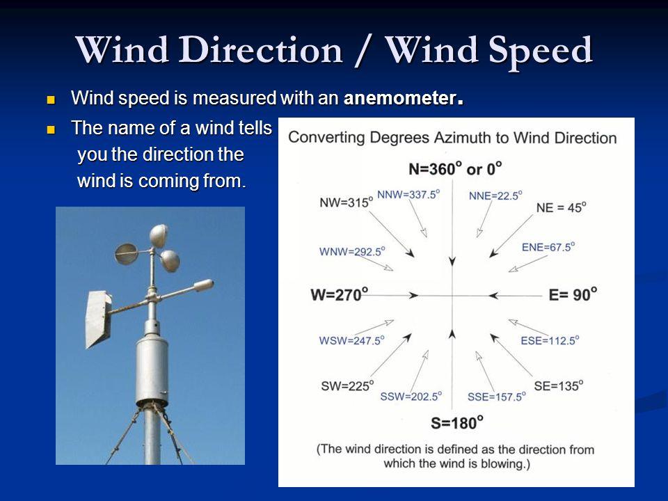 Wind Direction / Wind Speed Wind speed is measured with an anemometer. Wind speed is measured with an anemometer. The name of a wind tells The name of