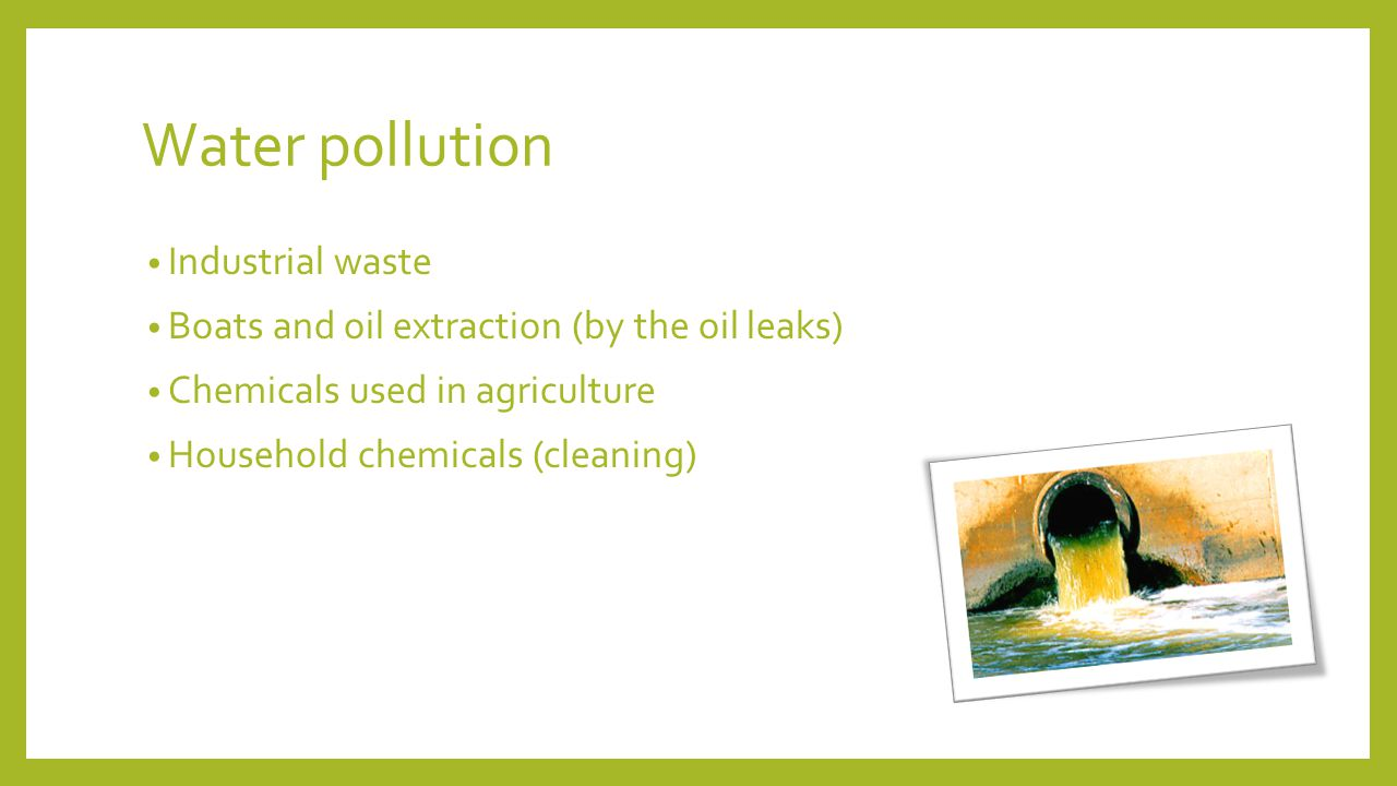 Water pollution Industrial waste Boats and oil extraction (by the oil leaks) Chemicals used in agriculture Household chemicals (cleaning)