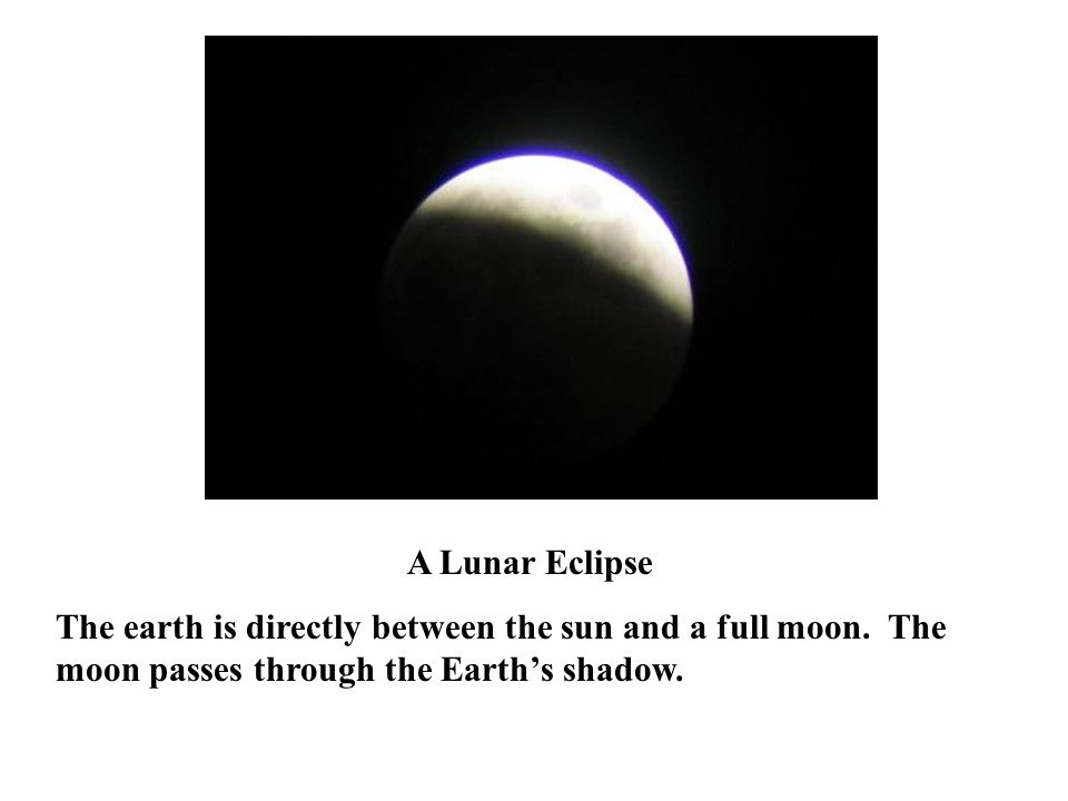 A Lunar Eclipse The earth is directly between the sun and a full moon.