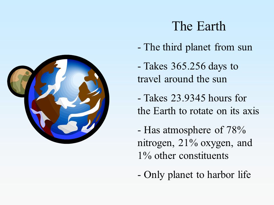 The Earth - The third planet from sun - Takes 365.256 days to travel around the sun - Takes 23.9345 hours for the Earth to rotate on its axis - Has atmosphere of 78% nitrogen, 21% oxygen, and 1% other constituents - Only planet to harbor life