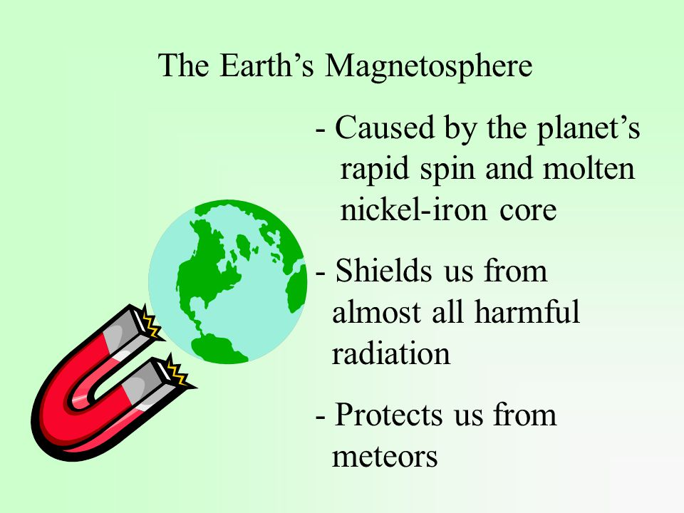 The Earth's Magnetosphere - Caused by the planet's rapid spin and molten nickel-iron core - Shields us from almost all harmful radiation - Protects us from meteors