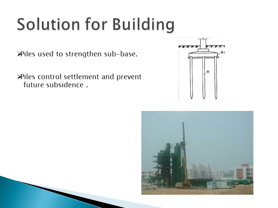  Piles used to strengthen sub-base.  Piles control settlement and prevent future subsidence.