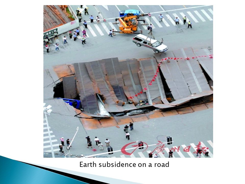 Earth subsidence on a road