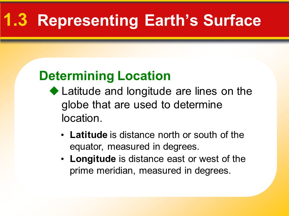Determining Location 1.3 Representing Earth's Surface  Latitude and longitude are lines on the globe that are used to determine location. Latitude is