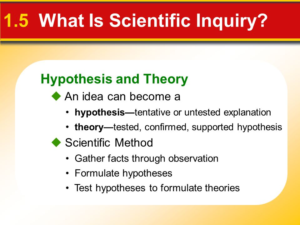 Hypothesis and Theory 1.5 What Is Scientific Inquiry?  An idea can become a hypothesis—tentative or untested explanation theory—tested, confirmed, su