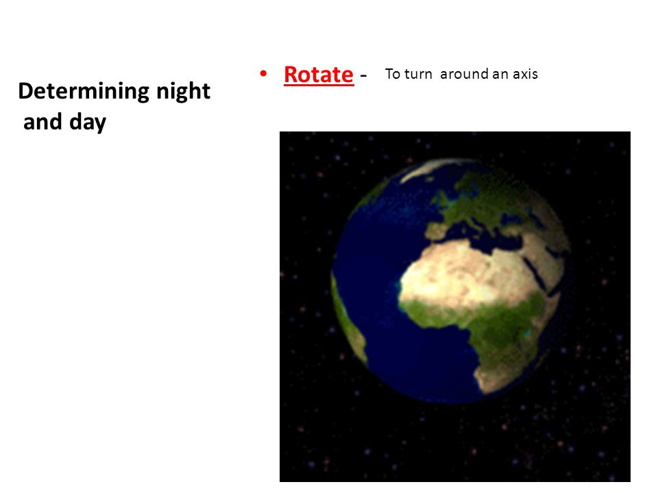 Rotate - Determining night and day To turn around an axis