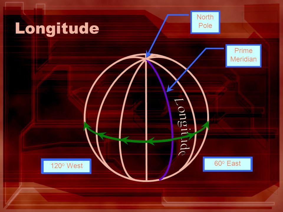 Longitude North Pole Prime Meridian 30 o East60 o East 30 o West 60 o West90 o West 120 o West