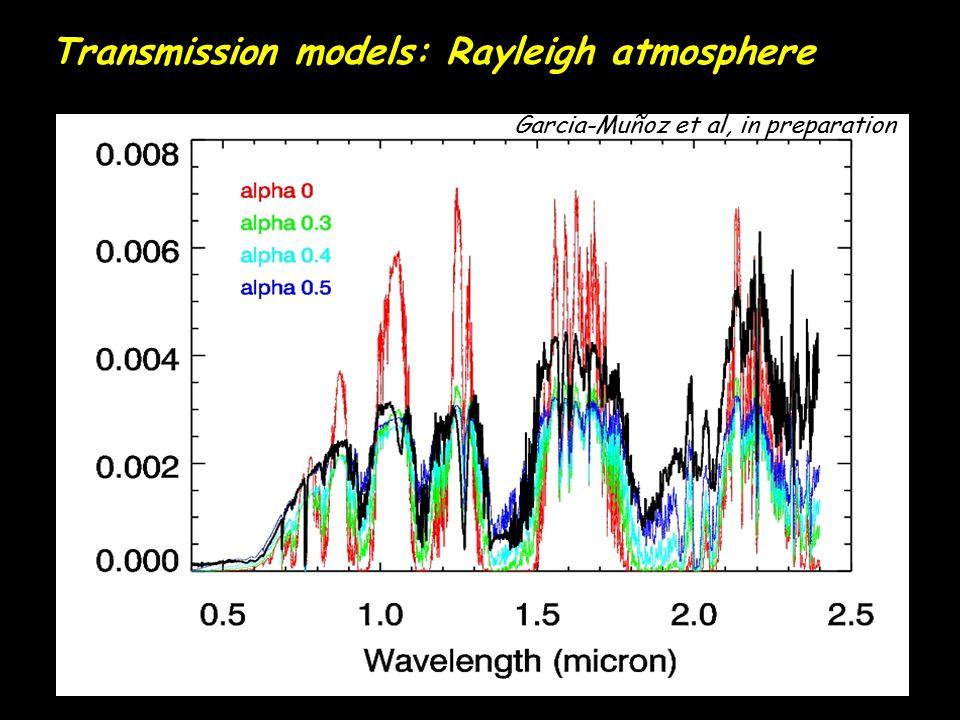 Transmission models: Rayleigh atmosphere Garcia-Muñoz et al, in preparation