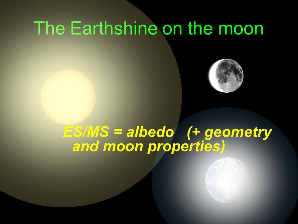 The Earthshine on the moon ES/MS = albedo (+ geometry and moon properties)