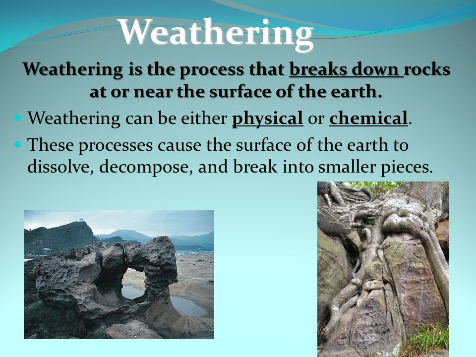 Which is not a type of physical weathering.A. Roots breaking rock B.