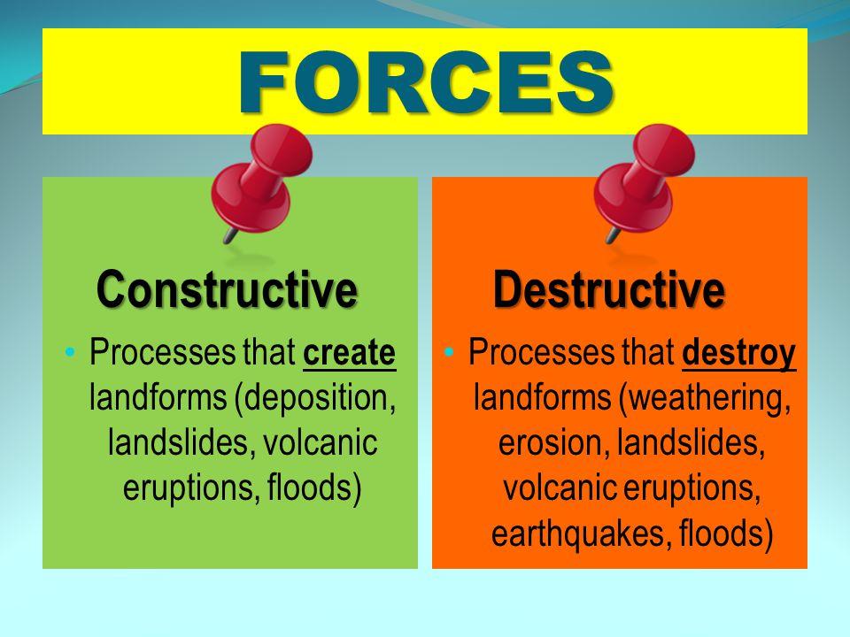 A.deposition of sediment – a destructive force B.