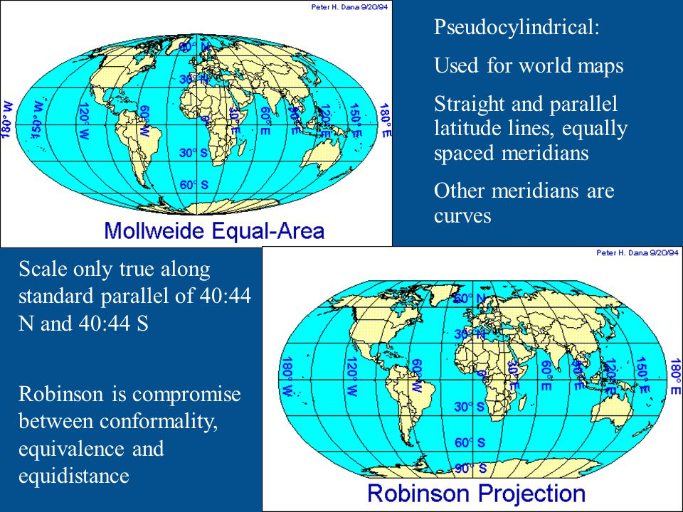 Pseudocylindrical: Used for world maps Straight and parallel latitude lines, equally spaced meridians Other meridians are curves Scale only true along