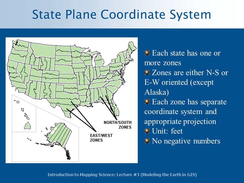 Introduction to Mapping Science: Lecture #3 (Modeling the Earth in GIS) State Plane Coordinate System Each state has one or more zones Zones are eithe