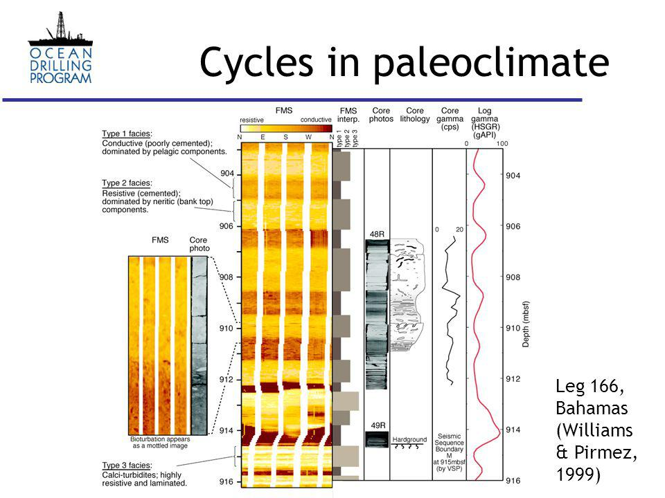 Cycles in paleoclimate Leg 166, Bahamas (Williams & Pirmez, 1999)