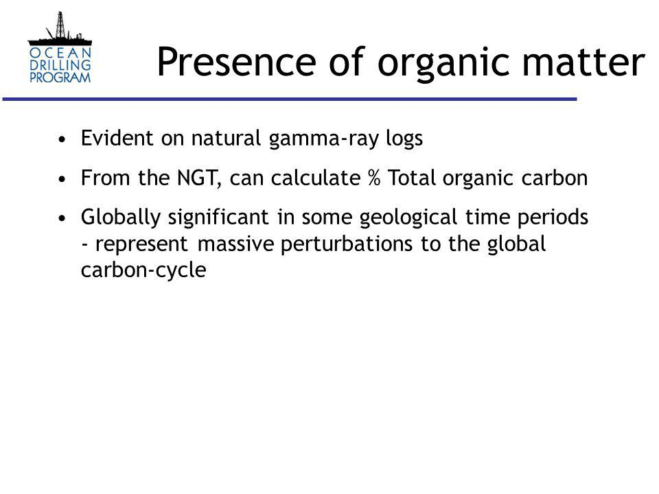 Presence of organic matter Shale with <34.7 % total organic carbon Leg 198, Shatsky Rise (Bralower et al., 2002)