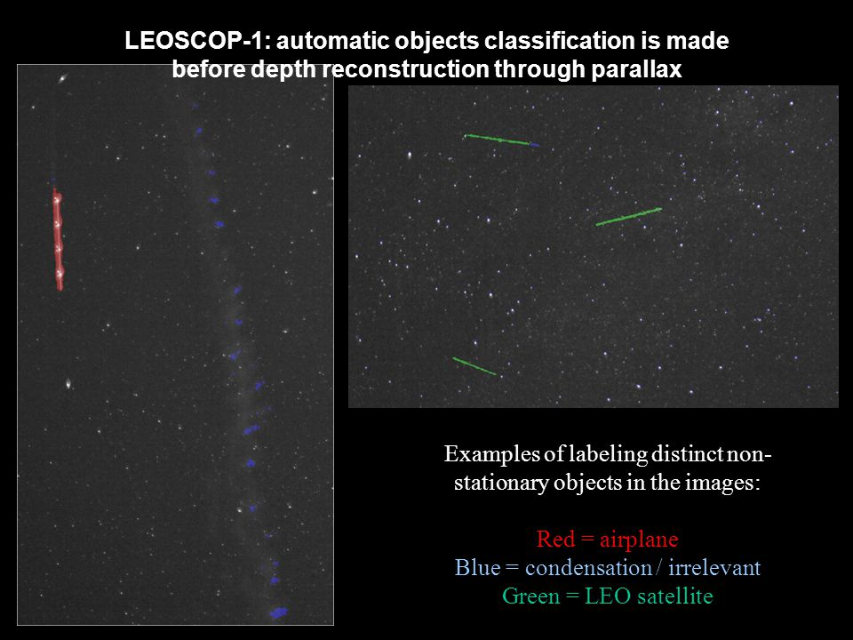 LEOSCOP-1: automatic objects classification is made before depth reconstruction through parallax Examples of labeling distinct non- stationary objects