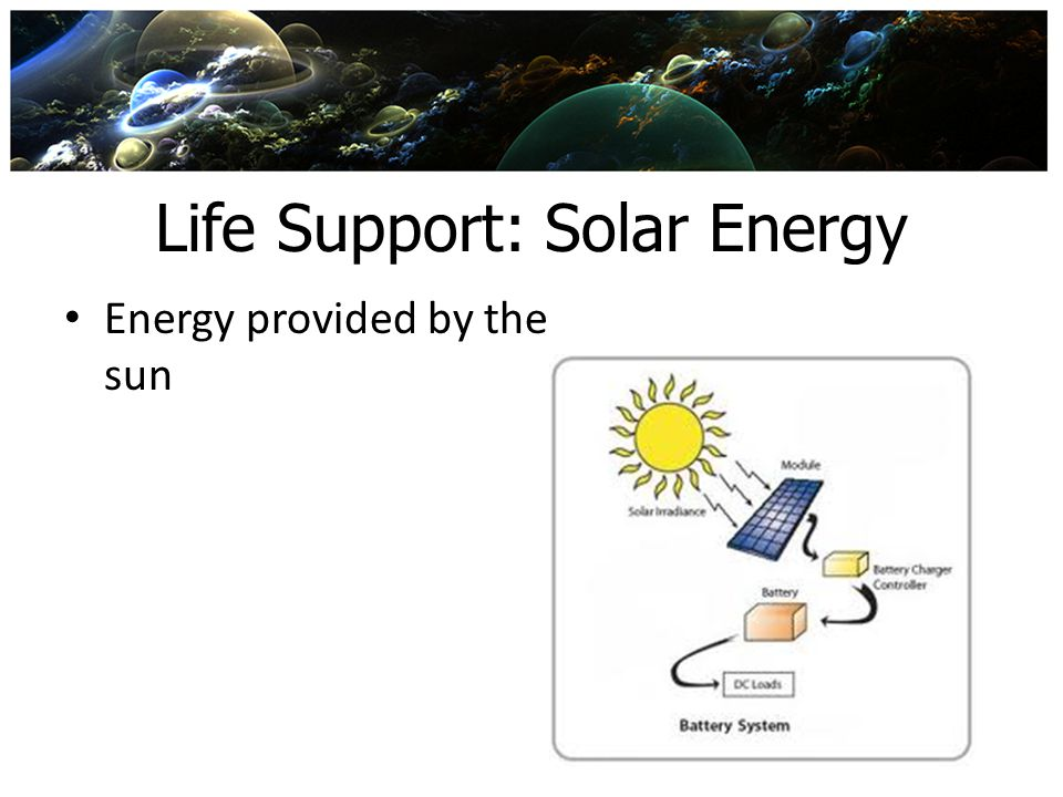 Life Support: Solar Energy Energy provided by the sun