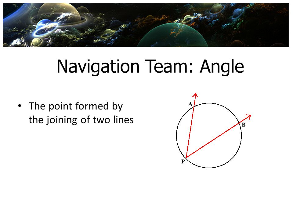 Navigation Team: Angle The point formed by the joining of two lines