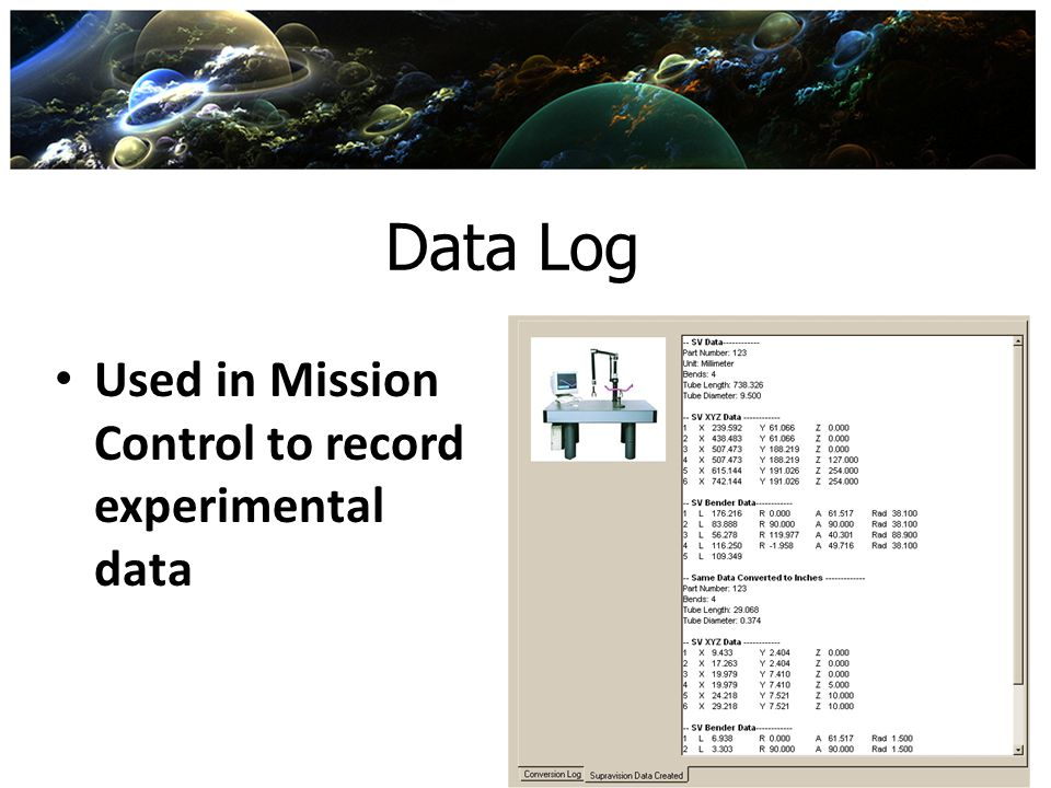 Data Log Used in Mission Control to record experimental data