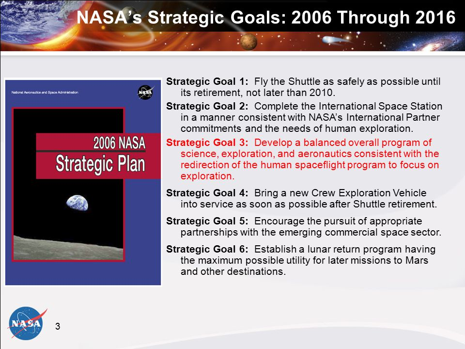 3 NASA's Strategic Goals: 2006 Through 2016 Strategic Goal 1: Fly the Shuttle as safely as possible until its retirement, not later than 2010.