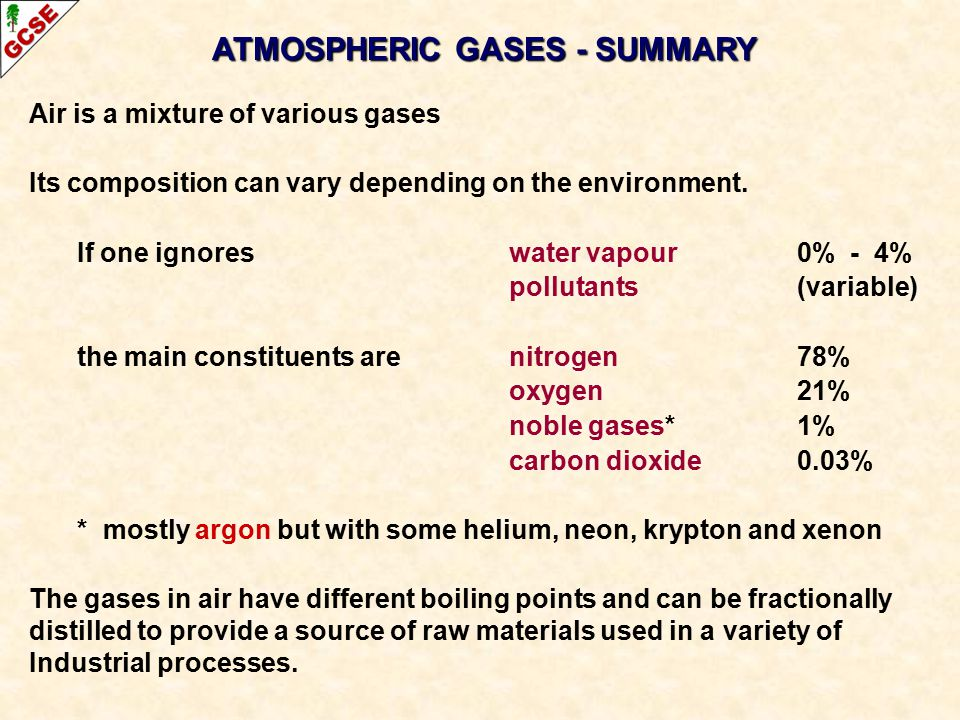 Air is a mixture of various gases Its composition can vary depending on the environment. If one ignoreswater vapour0% - 4% pollutants(variable) the ma