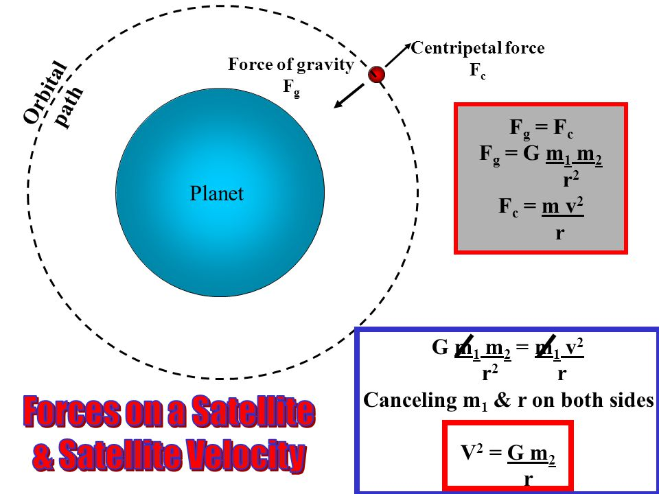 Planet Force of gravity F g Centripetal force F c Orbital path Fg Fg = FcFc Fg Fg = G m1 m1 m2m2 r2r2 Fc Fc = m v2v2 r G m1 m1 m2 m2 = m1 m1 v2v2 r 2 r Canceling m1 m1 & r on both sides V2 V2 = G m2m2 r