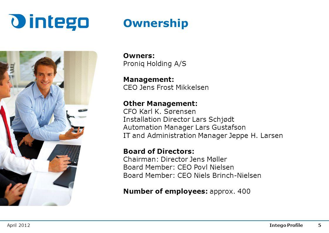 April 2012Intego Profile5 Ownership Owners: Proniq Holding A/S Management: CEO Jens Frost Mikkelsen Other Management: CFO Karl K. Sørensen Installatio