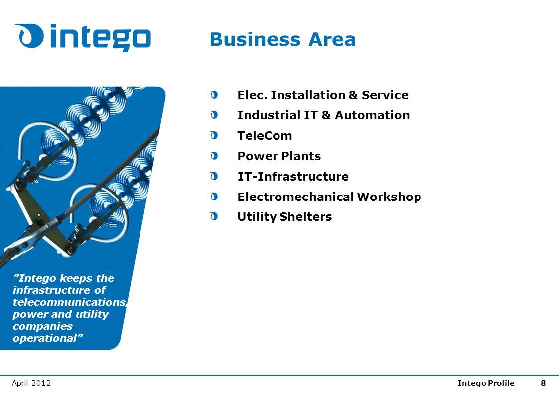 April 2012Intego Profile8 Business Area Elec. Installation & Service Industrial IT & Automation TeleCom Power Plants IT-Infrastructure Electromechanic