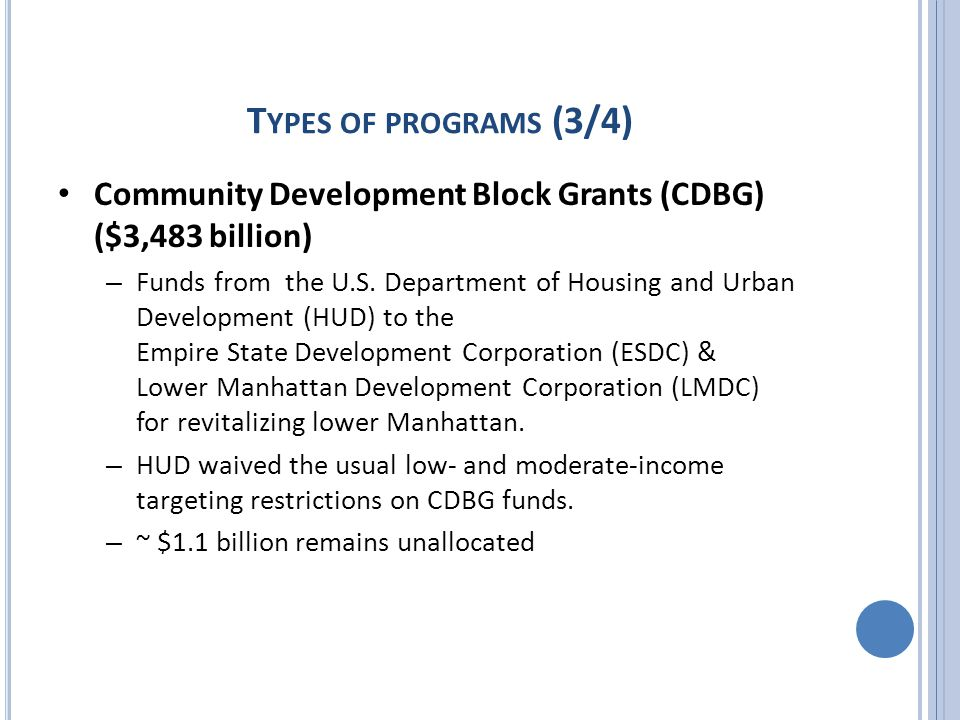 T YPES OF PROGRAMS (3/4) Community Development Block Grants (CDBG) ($3,483 billion) – Funds from the U.S.